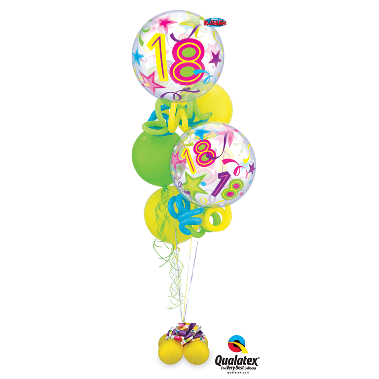 18th birthday bouquet of multi-coloured balloons