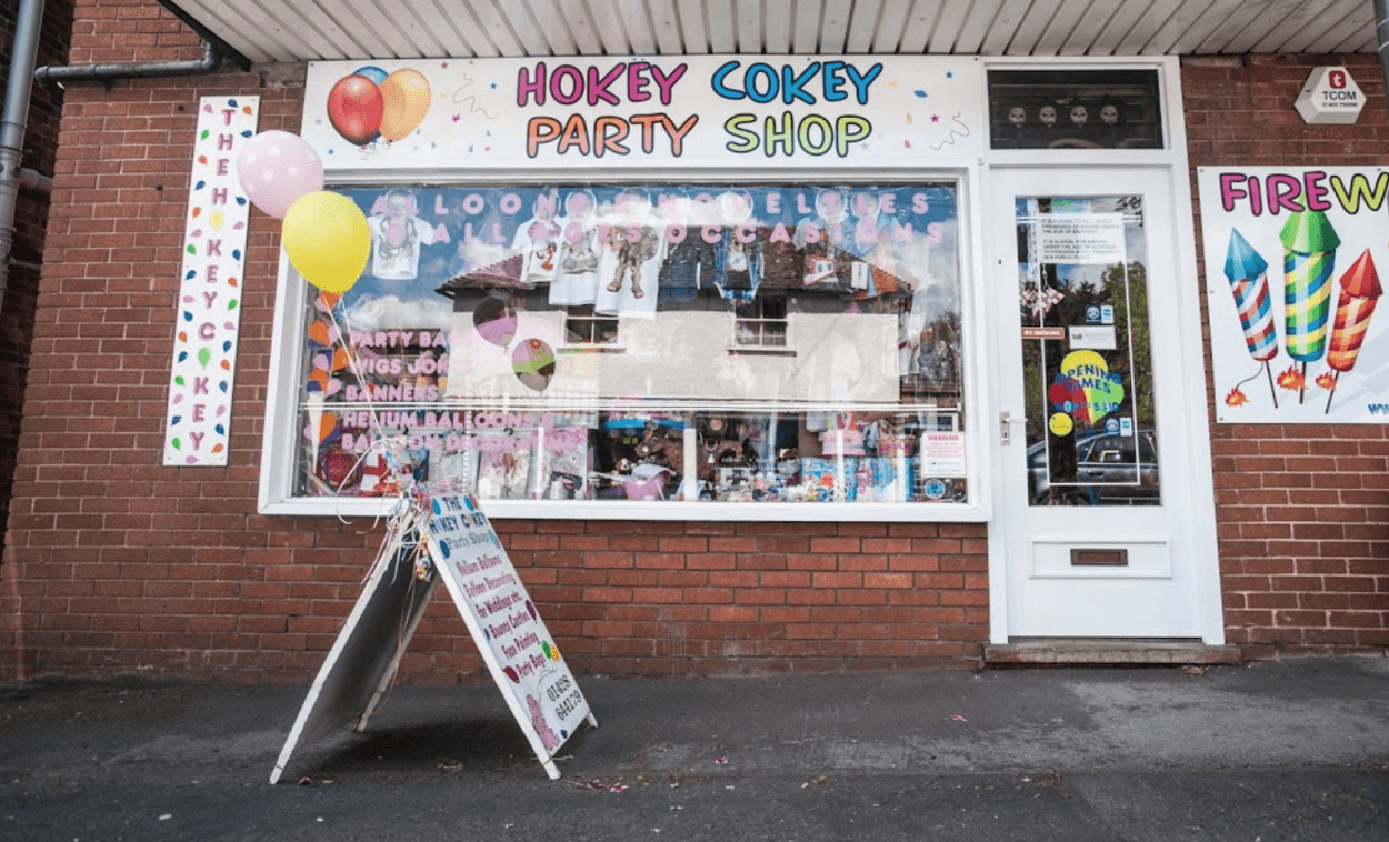 Exterior of Hokey Cokey Party Shop Surrey & Hampshire